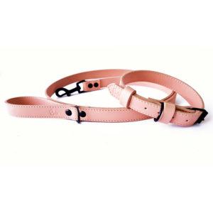 Riola Design Baby Rose prémium bőr kutyanyakörv és póráz